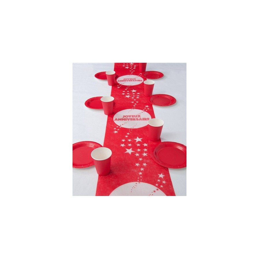 Chemin de table anniversaire rouge for Chemin de table rouge