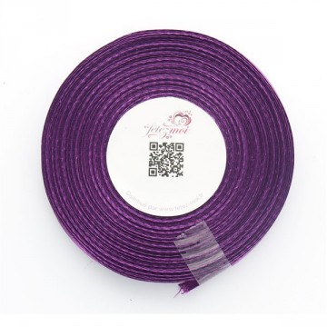 Ruban satin Aubergine 6mm