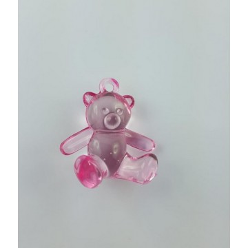 Ourson dragées transparent Rose x6