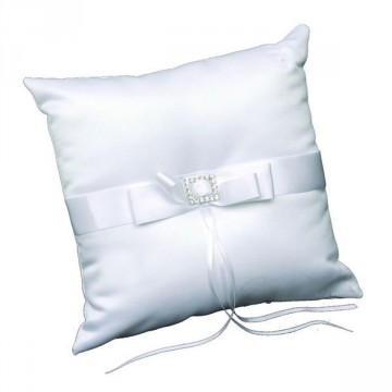 Coussin porte-alliance carré Strass Blanc