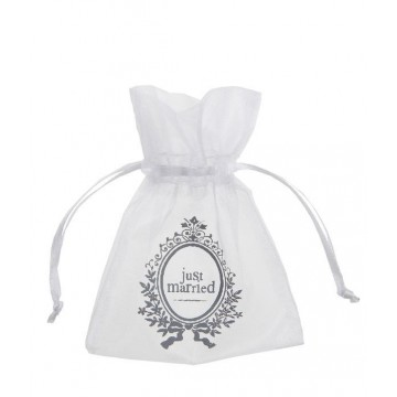 Sachet dragées organdi Just Married Blanc