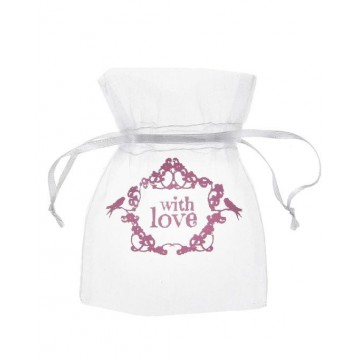 Sachet dragées with love rose