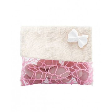Sachet dragées porte-monnaie jute filet rose