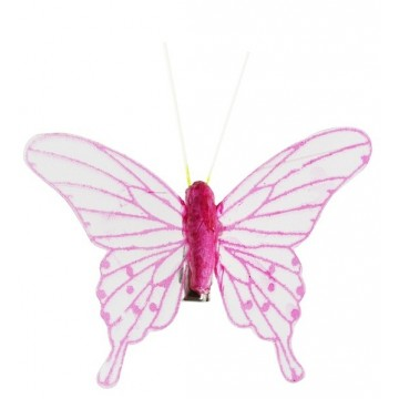 Papillon transparent sur clip FUSCHIA