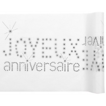 Chemin de table Anniversaire BLANC