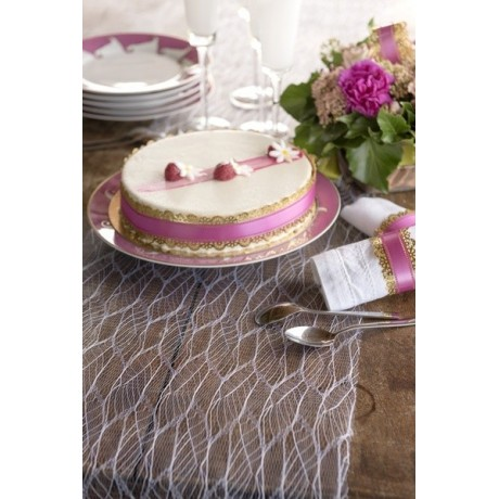 Chemin de table tulle feuille