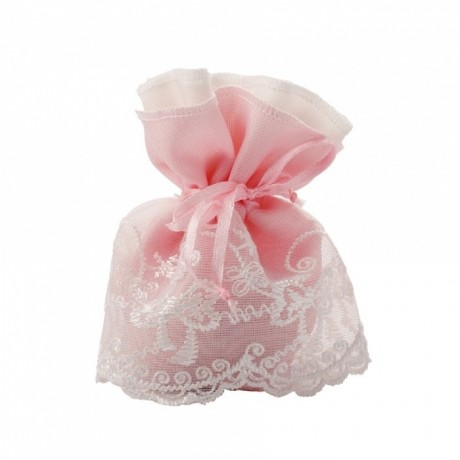 POCHON A DRAGEES ROBE DENTELLE ROSE