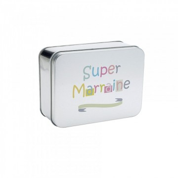 "BOITE A DRAGEES + IMP.""SUPER MARRAINE"""