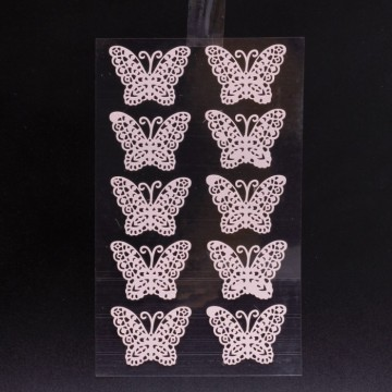 Stickers Papillon dentelle rose (x10)