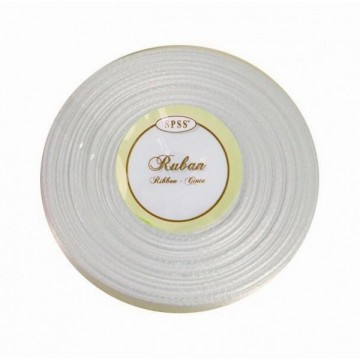 Ruban satin - Blanc - 6mm * 25m