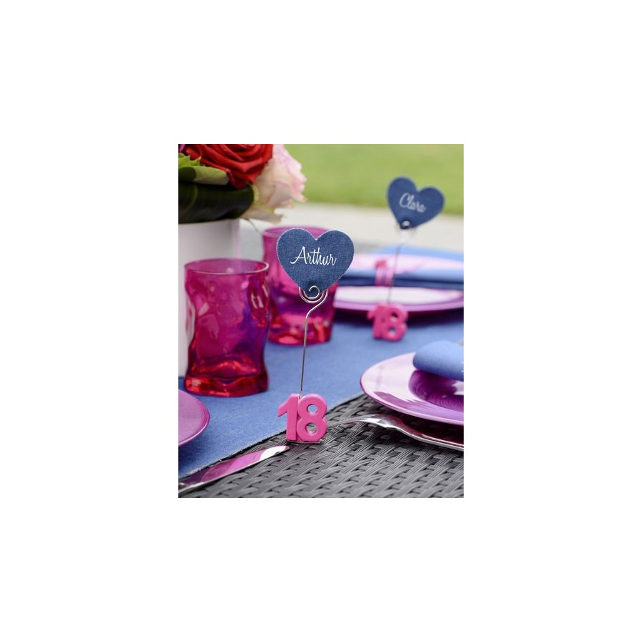 marque place anniversaire fuchsia 18 ans x2. Black Bedroom Furniture Sets. Home Design Ideas