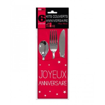 Kit couverts anniversaire Rouge