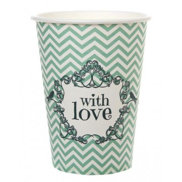 Gobelet en carton With love Vert x10