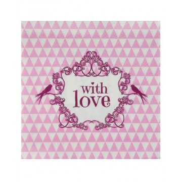 Serviette papier With love Rose x20
