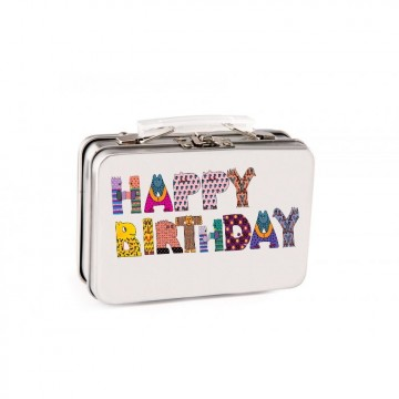 Contenant Dragées Valise Happy Birthday