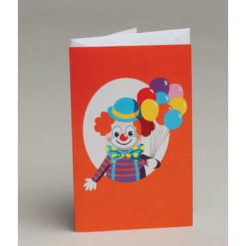 Carte invitation Clown + Enveloppe