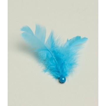 Plumes perle Turquoise x 5